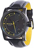 Animal Burn Men's Quartz Watch with Black Dial Analogue Display and Black Leather Strap WW3WC009 - 002 - O/S