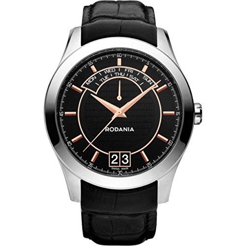 Rodania 25070–27Uhr für Männer, Lederband schwarz