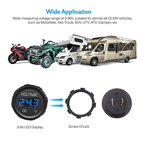 Mictuning Mic-Vm-Blue Voltmeter (Dc 12V Led Digital Display Waterproof For Boat Marine Vehicle Motorcycle Truck Atv Utv Car Camper Caravan Blue Round Panel)
