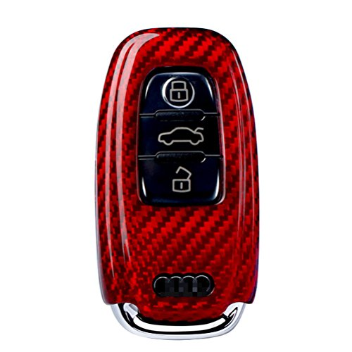 Remote-start-audi (FancyAuto Carbon Fiber Car Key Cover Case Holder 3 Button Remote Flip Key Case for Audi A4L A5 A6L A7 A8L Q5 (Red))