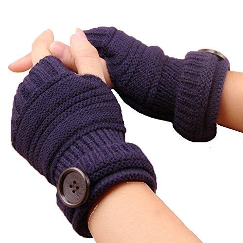 bigboba Unisex Kurz Hand Arm Fingerlose Handschuhe Winter Warmer Strick Tasten Handschuhe Daumenloch Fäustlinge 16cm, Stricken, dunkelblau, 16 cm (Fingerlose Stricken Handschuhe)