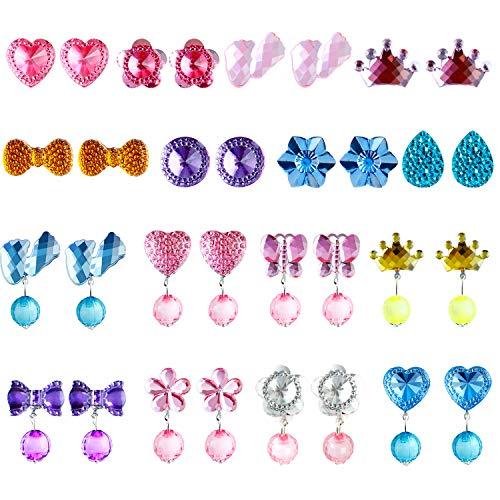 Aneco 16 Paare Clip Mädchen Ohrringe Mädchen Spiel Ohrringe Prinzessin Klipp Ohrring Set für Party Gefallen Verpackt in 2 transparenten Boxen
