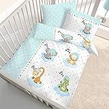 ZOOTIERE Fein Biber Baby Kinder Bettwäsche ☆ Sleeping ZOO STARS Tiere · Elefant · Giraffe · Sterne in mint, blau, grün - Kissenbezug 40x60 + Bettbezug 100x135 cm - hergestellt in Deutschland