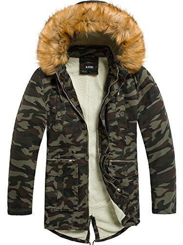 Camo-jacke (OZONEE Herren Winterjacke Parka Jacke Kapuzenjacke Wärmejacke Wintermantel Coat GH3833 X-FEEL 88620 Camo XL)