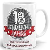 Drucksaal - Tasse mit Spruch Endlich 18 Jahre alt Bedruckter hochglänzender Kaffeebecher Kaffeetasse in weiß ab 1 Stck.