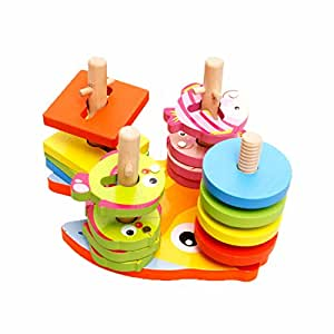 2 in 1 Shapes Sorter Twister and Magnetic Fish Game - perfect birthday gift for 3 year boy girl or 4 year old boy girl, wooden educational learning toys for kids babies
