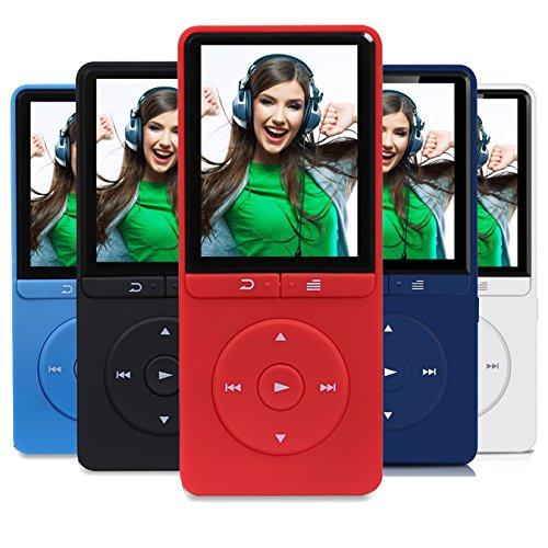 Peficecy MP3-Player, 80 Stunden Wiedergabe 8GB Hi-Fi Klang Musik-Spieler, mit FM Radio und Sprachrekorder Funktion, Auf bis zu 64GB Erweiterbar (P20-Rot)