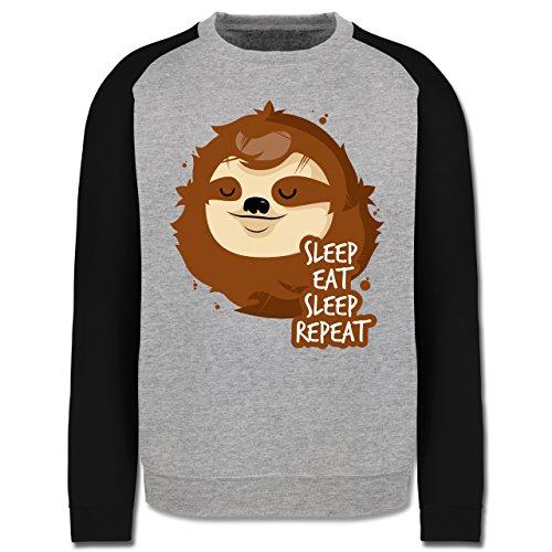 Comic Shirts - Sleep, eat, sleep, repeat - Faultier - Herren Baseball  Pullover