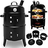 BBQ Smoker - Grill Rond - Barbecue Fumeur smoker & Four- avec Thermomètre & 2 Grilles