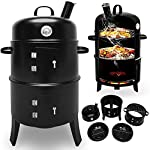 BBQ Charcoal Barbecue Smoker Round Grill Heat Indicator Thermometer 3 in 1 – Garden Gift Set