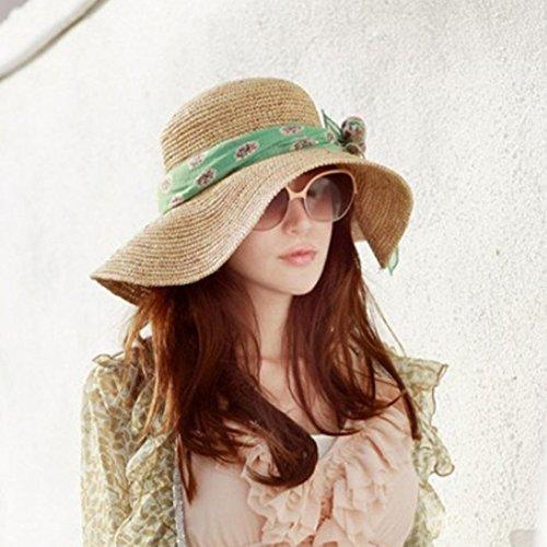 waygo Mujer Hawaii turismo grande ala paja sol sombrero plegable playa  (rafia cd026bd5ea7