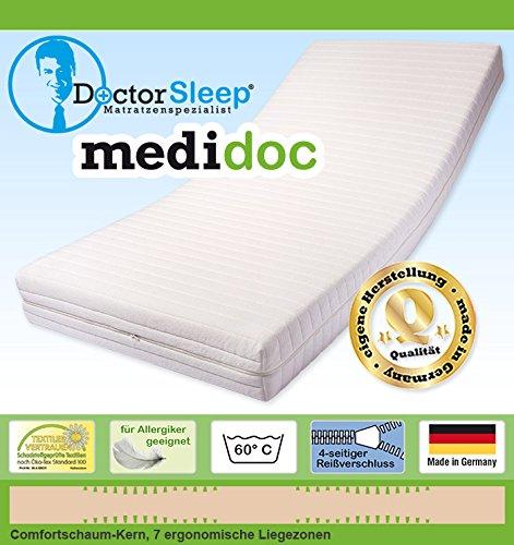 Doctorsleep medidoc 7 Zonen Kaltschaum/Comfortschaum Kern Matratze 17,5 cm mit Bezug - Medicott Größe: 120x210cm Härtegrad 2 -