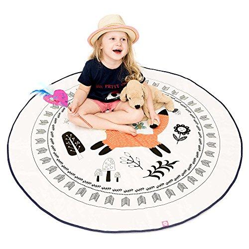 Spielmatte / Spielteppich für Baby & Kinder - Rund, Groß & Weich gepolstert - Ideal fürs Kinderzimmer - Schadstofffreie Kindermatte und Krabbeldecke für Mädchen & Junge (Foxy)