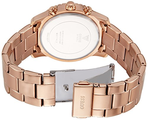 Guess Ladies Confetti watch with a multi colour dial and rosed gold plating bracelet
