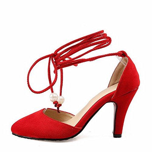VogueZone009 Donna Pelle Di Mucca Tacco Alto Punta Chiusa Scarpe A Punta Puro Allacciare Ballerine Rosso