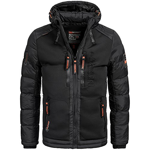 Herren-winter-jacken (Geographical Norway BREVSTER Herren Winterjacke Jacke Outdoor Ski warm Gr. S-XXXL 2-Farben, Größe:L;Farbe:Schwarz)