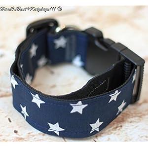 Hundehalsband Sternchen mit Stoffbezug und Acetalverschluss