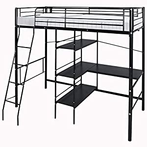Strong Metal Cabin Bed Loft Bed Frame High Sleeper Bunk Bed 3ft with Ladder Desk and Shelves for Kids Children by WarmieHomy