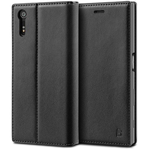 BEZ® Sony Xperia XZ / XZs Hülle, Handyhülle Kompatibel für Sony Xperia XZ / XZs Tasche, Flip Case Cover Schutzhüllen aus Klappetui mit Kreditkartenhaltern, Ständer, Magnetverschluss - Schwarz