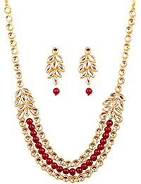 Touchstone Indian Bollywood Graceful Kundan Polki Look Grand Jewellery Necklace Set In Gold Tone For Women