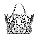 Persönlichkeit Rhombische Geometrie Tasche Falttasche Stereo Cube Bag Lady Handtasche Schultertasche (Farbe : Silber, größe : 23 * 13 * 28CM)