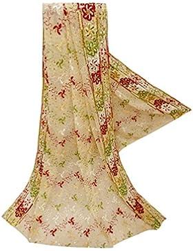 Mujeres Elegante Dupatta Georgette Tela Boda Diseñador Mantón Beige Indio Vendimia Étnica Estola