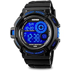 Mens Digital Watch Sport Wrist Watch Blue Fashion Big Face Dial EL Backlight Stopwatch Alarm Function Lightweight Cheap Watches on Sale 5 ATM Water Resistant