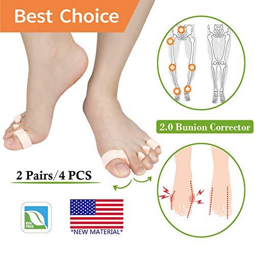 Correttore ortopedico per alluce valgo 2.0 e protezione per alluce valgo, separatore per dita dei piedi, in morbido gel per alluce valgo, per donne e uomini (2 paia)