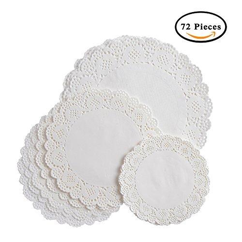 vipith 72Teile rund weiß Spitze Papier Deckchen Kuchen Verpackung Papier Pad für Party oder Hochzeit lilanen Dekoration, 16,5cm, 21,6cm, 26,7cm