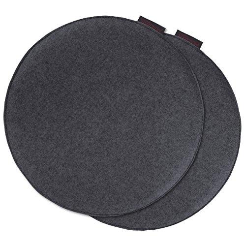 Cuscino avaro rotondo per sedia, finto feltro, set da 2 pezzi, diametro circa 35cm anthrazit