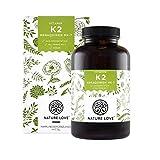 NATURE LOVE Vitamin K2 MK7-365 Kapseln für 1 Jahr. Hochdosiert mit 200 µg (mcg). Premium: VitaMK7 von Gnosis mit 99,7% All-Trans. Pflanzliches Menachinon 7 (MK-7). Vegan, hergestellt in Deutschland