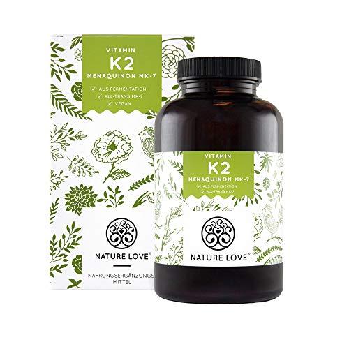 NATURE LOVE® Vitamin K2 MK7-365 Kapseln für 1 Jahr. Hochdosiert mit 200 µg (mcg). Premium: VitaMK7 von Gnosis mit 99,7% All-Trans. Pflanzliches Menachinon 7 (MK-7). Vegan, hergestellt in Deutschland -