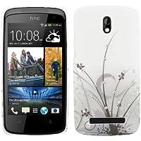 kwmobile Custodia di lusso in strass per HTC Desire 500 Design erba grigio nero (Sostituzione Erba)