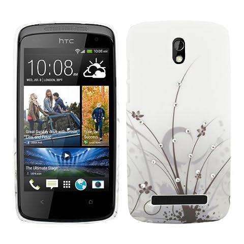 kwmobile Hardcase Glitzer Hülle für HTC Desire 500 in Gras Design - Strassstein Backcover Case (Sostituzione Erba)