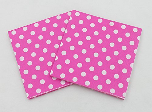 Partysanthe Polka Dot Tissues Hot Pink with White Dots Polka Dot Theme Paper Napkins for Birthday Party Polka Dot Tissue Paper (20 Napkins in Pack)