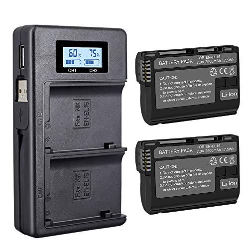 Chargeur Poteau EN-EL15 Compatible avec Nikon D750, D5463 D5468, D850, D800 et Autre (Batterie de Rechange de 2-Pack 2500 mAh, Chargeur avec entr¨¦e USB Micro, Polyvalent Option de Recharge)