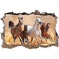 Mandria di cavalli nel deserto con svolta a muro puledro in aspetto 3D, parete o in formato adesivo porta: 92x62cm, autoadesivi della parete, autoadesivo della parete, decorazione della parete