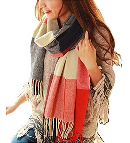 Heekpek® Winter Long Soft Warm Tartan Check Scarves Wraps for women Wool Spinning Tassel Shawl Long Stole (Red+Blue)