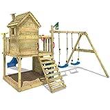 WICKEY Spielturm Smart Lodge Kletterturm Baumhaus Garten mit Spielhaus, Doppelschaukel, großem Sandkasten, Kletterwand, blaue Rutsche -