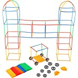 Building Toys For Kids 400 Set Straws And Connector + Wheels - Colorful And Strong Kids Construction Toys With Special Connectors - Great Gift Building Blocks For Boys And Girls - Original - By Play22