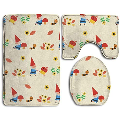 xinchengyac GNOME Super Plush Bathroom Rugs Set Dries Quickly Mildew Bath Shower Mat U-Shaped Lid Toilet Floor 3 Piece -