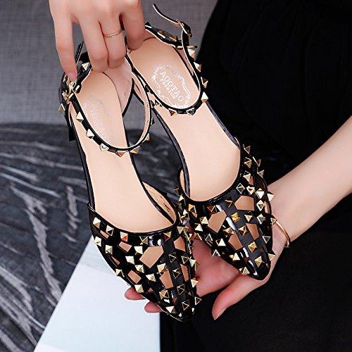 Lgk & fa estate sandali da donna Scavate scarpa da donna a punta e tallone Baotou singolo scarpe Black