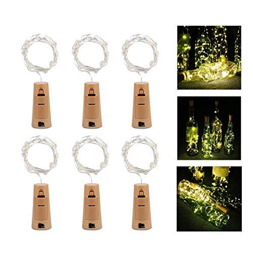 LIGHT Weinflaschen Lichter 6 Kork Flasche Mini Lichterkette Flaschenbeleuchtung 100cm 20Leds Kupferdraht Licht Sternenlicht für Flasche DIY Weihnachten Hochzeit Party Halloween ()
