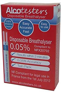 Disposable Breathalyser Twin Test Pack Legally Compliant for use in France