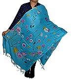 #8: Sanvitta's Floral Print Light Weight Viscose Women's Stole Turquoise