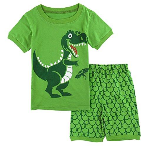 Mombebe Jungen Schlafanzug Dinosaurier Pyjamas Set Kurzarm Sommer Nachtwäsche (Dinosaurier, 4 Jahre)