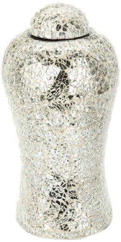 Urns UK 13-inch Aluminium Metal Lynton Mosaic Urn, White