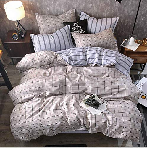 SHJIA Geometrisch Bedruckte Bettdecke Set Cartoon Bettbezug Bettwäsche und Kissenbezüge Tröster Bettwäsche Set Lila 200X230Cm -