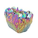 qgem natur Titan überzogen Rock Kristall Quarz Cluster Druzy Geode. SPECIMEN, Mineral Edelstein Ornament Decor 0.2lb-0.4lb, Stein, regenbogenfarben