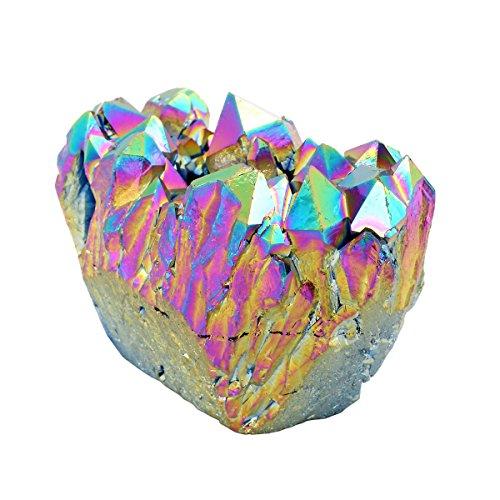 qgem Natural cristal de roca Cuarzo cluster con revestimiento de titanio Druzy Geode piedra mineral specimen, adorno decoración 0.2lb-0.4lb, piedra, Rainbow